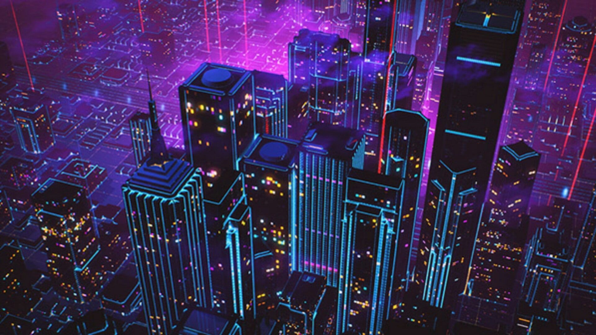 special effects city lights #artwork #electricity #city #art psychedelic art #night #retrowave #aesthetic visual effects #neon #metropolis #style #chill #calm city view #1080P #wallpaper #hdwallpaper #desktop