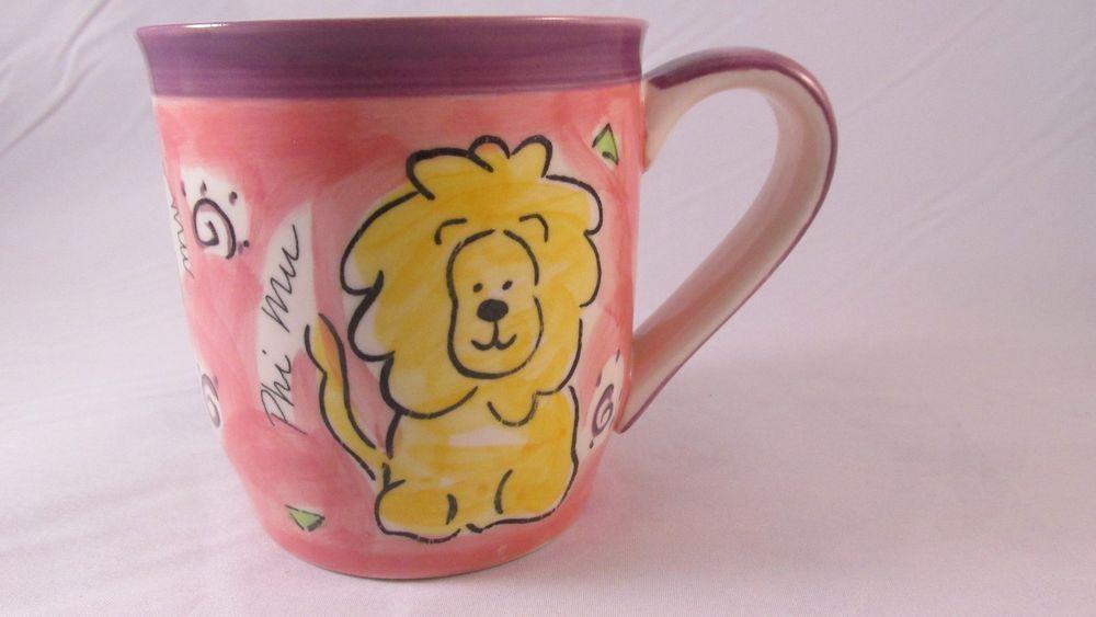 Phi Mu Lion Sir Fidel Rose and White Coffee Mug Cup Alexandra And Company