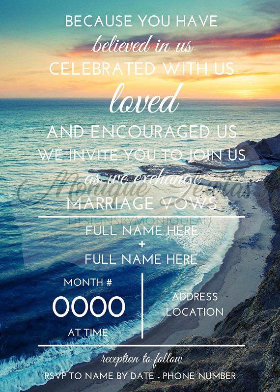 Digital Download Personalised Beach Wedding Invitation