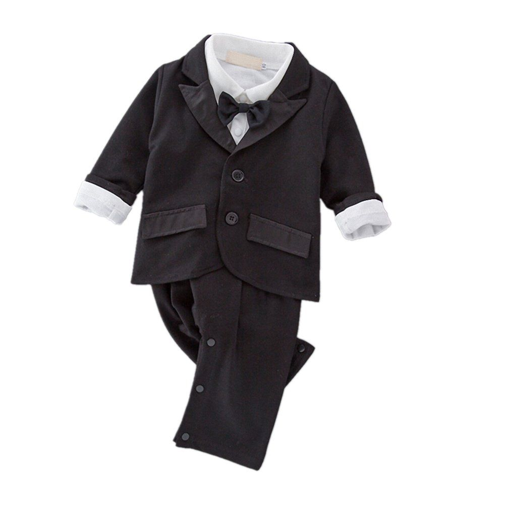 iooico Baby Boys Clothing Sets 2Pcs Long Sleeve Tuxedo Gentleman Romper Outfit with Bowtie /& Suit