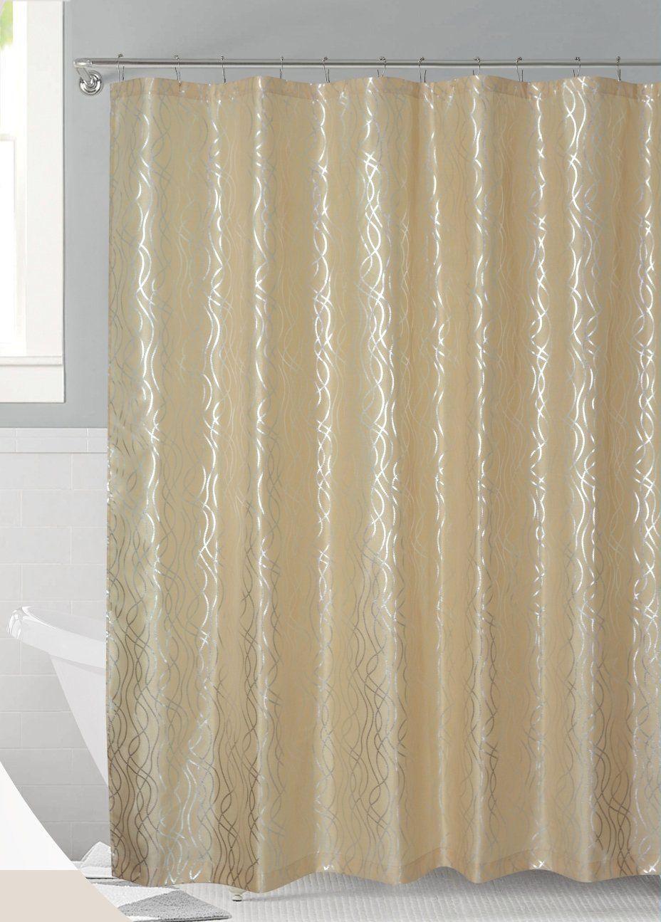 Amazon Luxurious Metalic Moroccan Trellis Shower Curtain Set With 12 Hooks 72