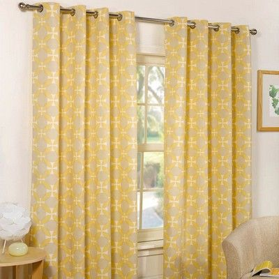 Sphere Lined Eyelet Yellow Curtains Matching Cushion Covers Available 168 X 183 Cm