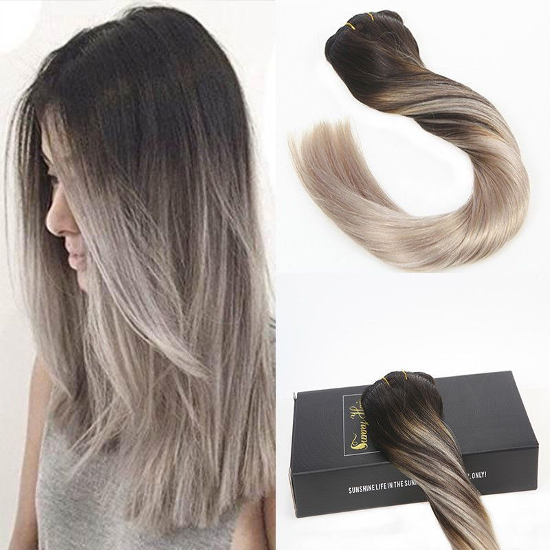Balayage Black To Silver Grey Hair Clip In Hair Extension Top