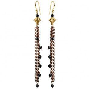 Onyx Copper Plated Modern Link Earrings