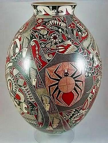 Vase olla with spider motif  – Goyin Silveira, Mata Ortiz
