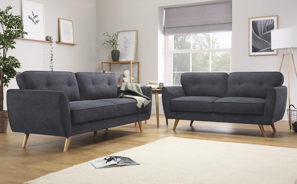Harlow Slate Grey Plush Fabric 3 2 Seater Sofa Set Sofa Sofa Set Dining Room Chairs Ikea