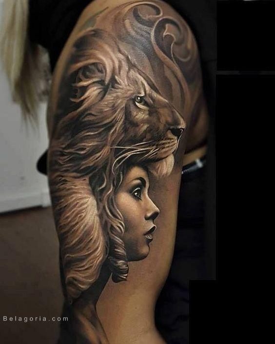 imagen de un tatuaje de le n para mujer tatus para diee pinterest tatouage homme. Black Bedroom Furniture Sets. Home Design Ideas