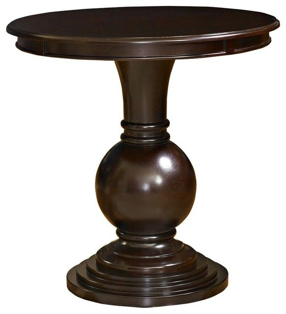 Accent Table Round: Traditional Round Espresso Wood Accent Table  Traditional Side Tables And Accent Tables