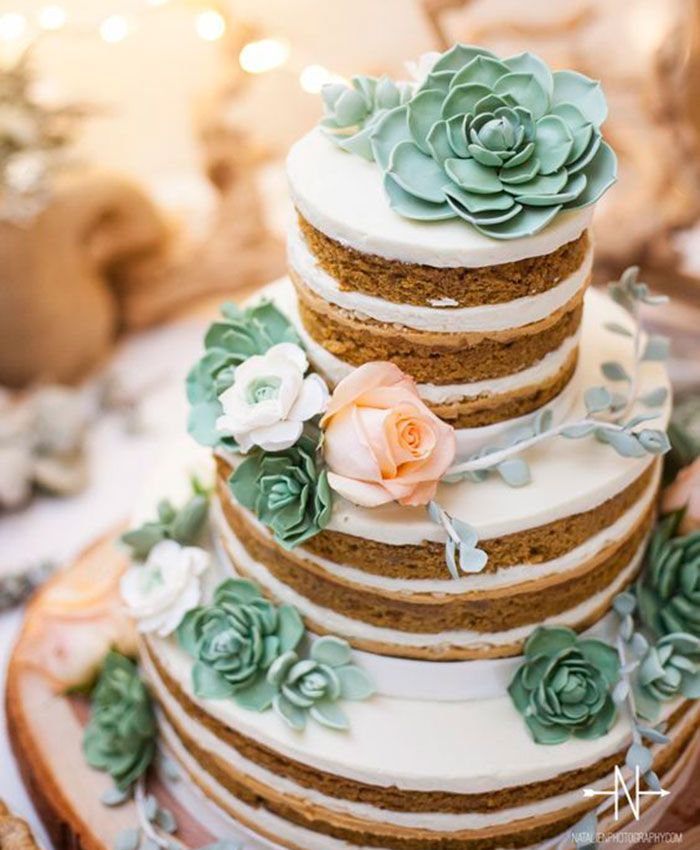 Guarantee Your Wedding Won't Succ With These Creative Ways To Use Succulents - Wilkie Blog! - Layer frosted succulent wedding cake
