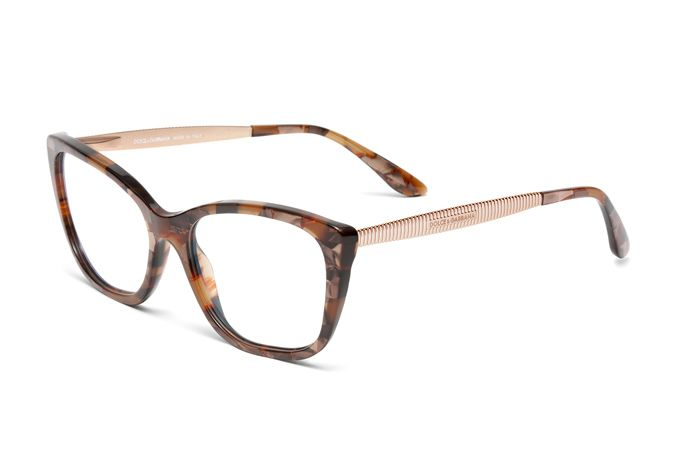 806308b779c Women s butterfly eyeglasses DG3280 with striped brown and pink gold  acetate frame frontal. Discover more details on Dolce Gabbana.