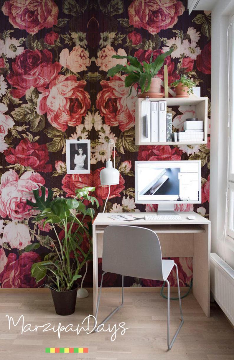 Vintage Romantic Red Roses Removable Wallpaper Contemporary Etsy Vintage Style Wallpaper Removable Wallpaper Rose Decor