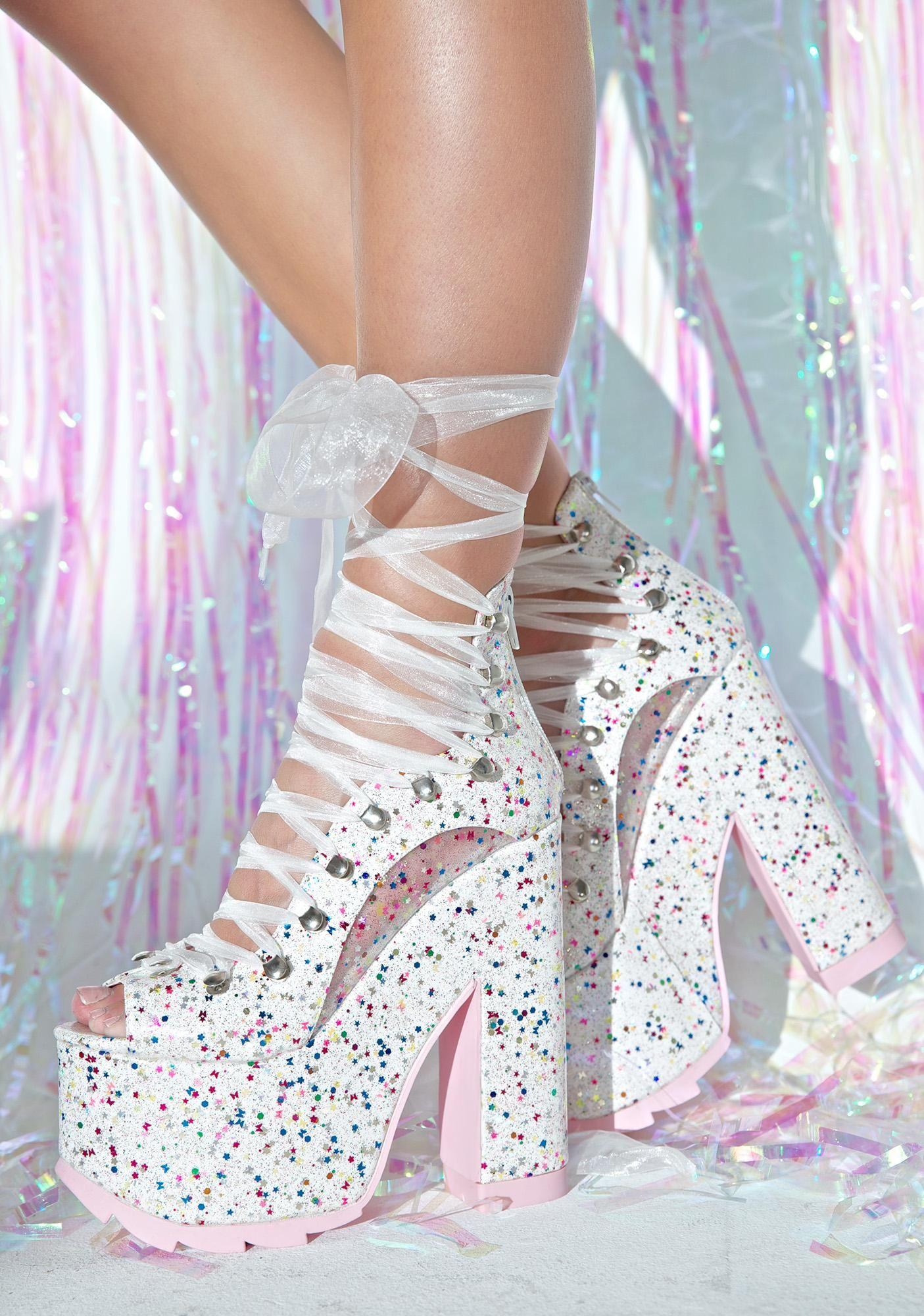 White Sparkle Ballet Bae Platforms | Bae, Dolls and High heel
