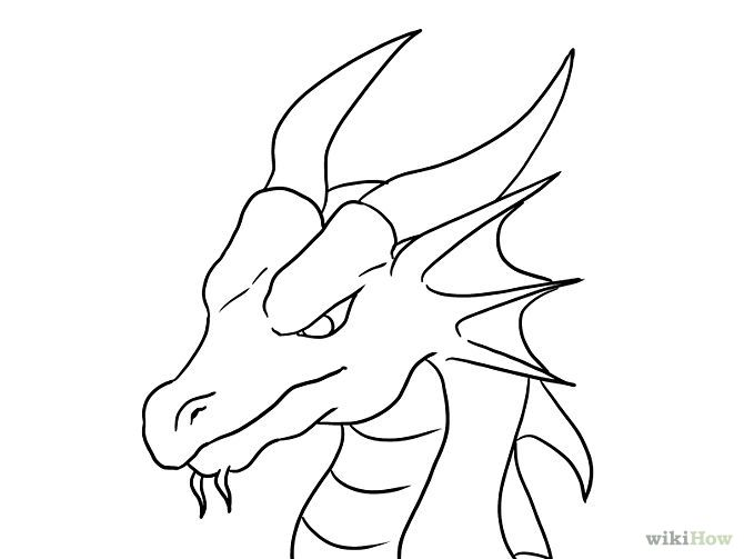 Easy D Line Drawings : Draw a dragon head dragons and drawings