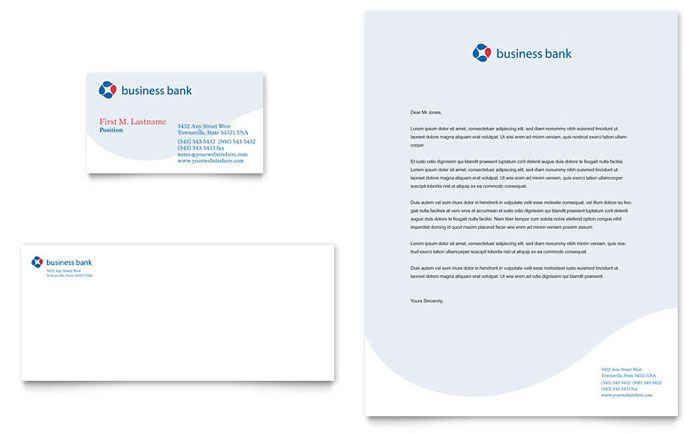 Business Bank Business Card And Letterhead Template Design By