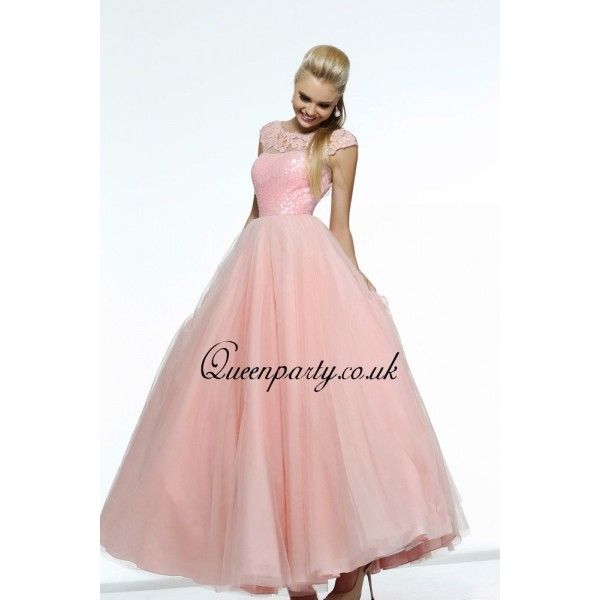 Pink Cap Sleeves Lace Neckline Long Prom Dress With Sequined Bodice ...