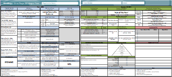 one page strategic plan