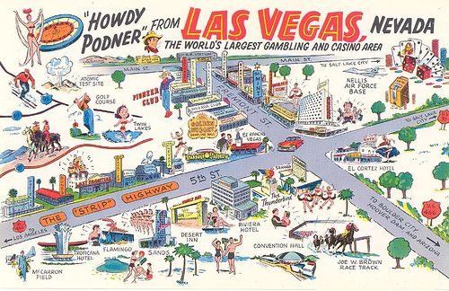 Vintage Cartoon Las Vegas Map | Mid Century | Las vegas map, Vegas ...