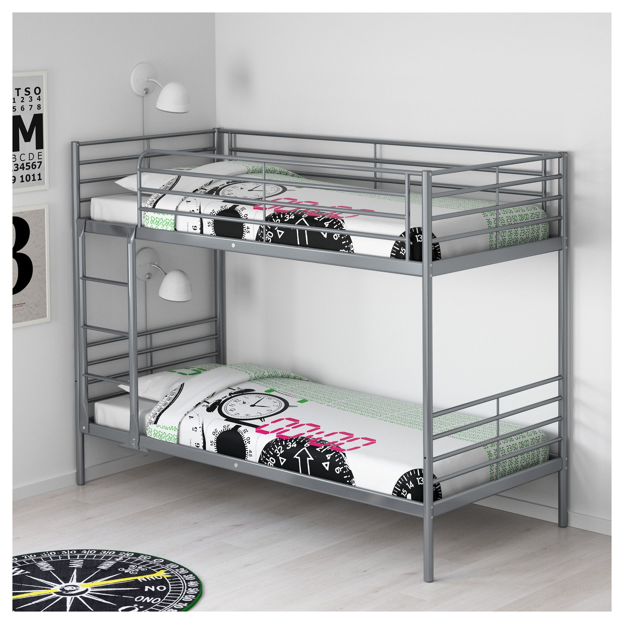 SVÄRTA Bunk bed frame, silver color