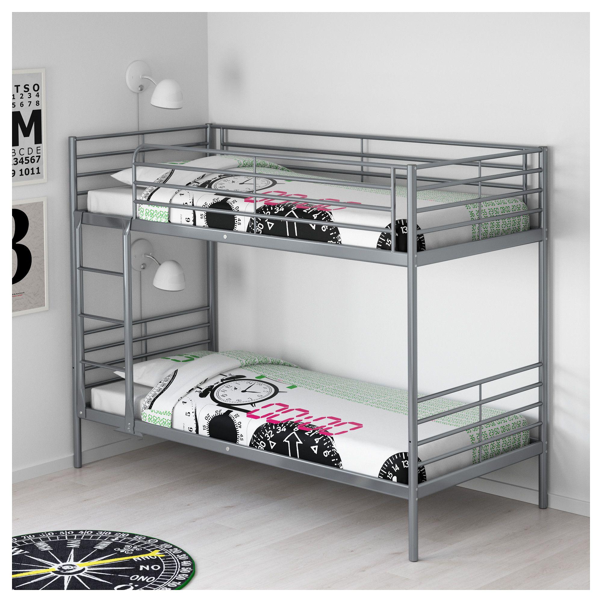 Loft bed ideas for low ceiling  IKEA  SVÄRTA Bunk bed frame silver color  Tempat tidur  Pinterest