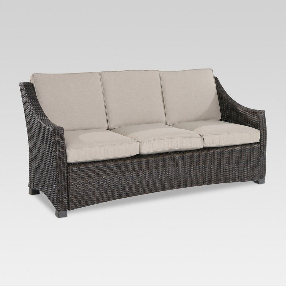 Outstanding Belvedere Wicker Patio Sofa Tan Threshold Products Theyellowbook Wood Chair Design Ideas Theyellowbookinfo