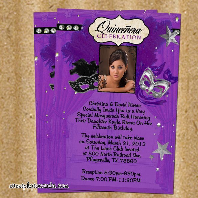 Invitations For Quinceaneras Quinceanera Invitations Purple