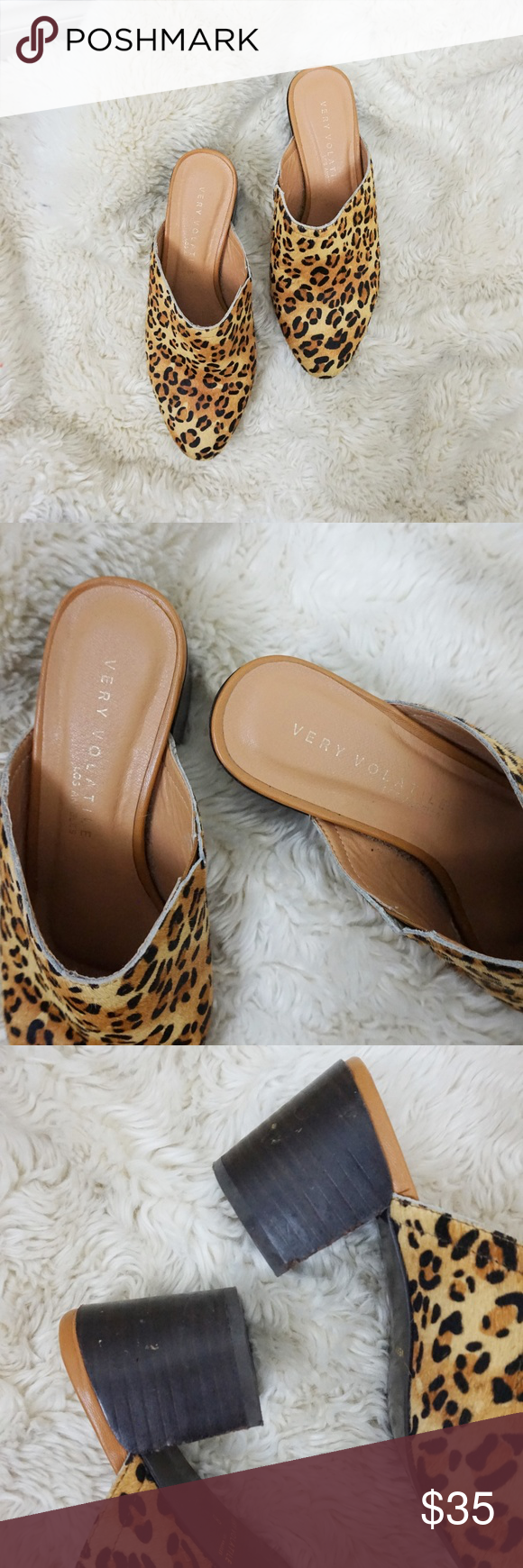 Very Volatile leopard cowhide mules