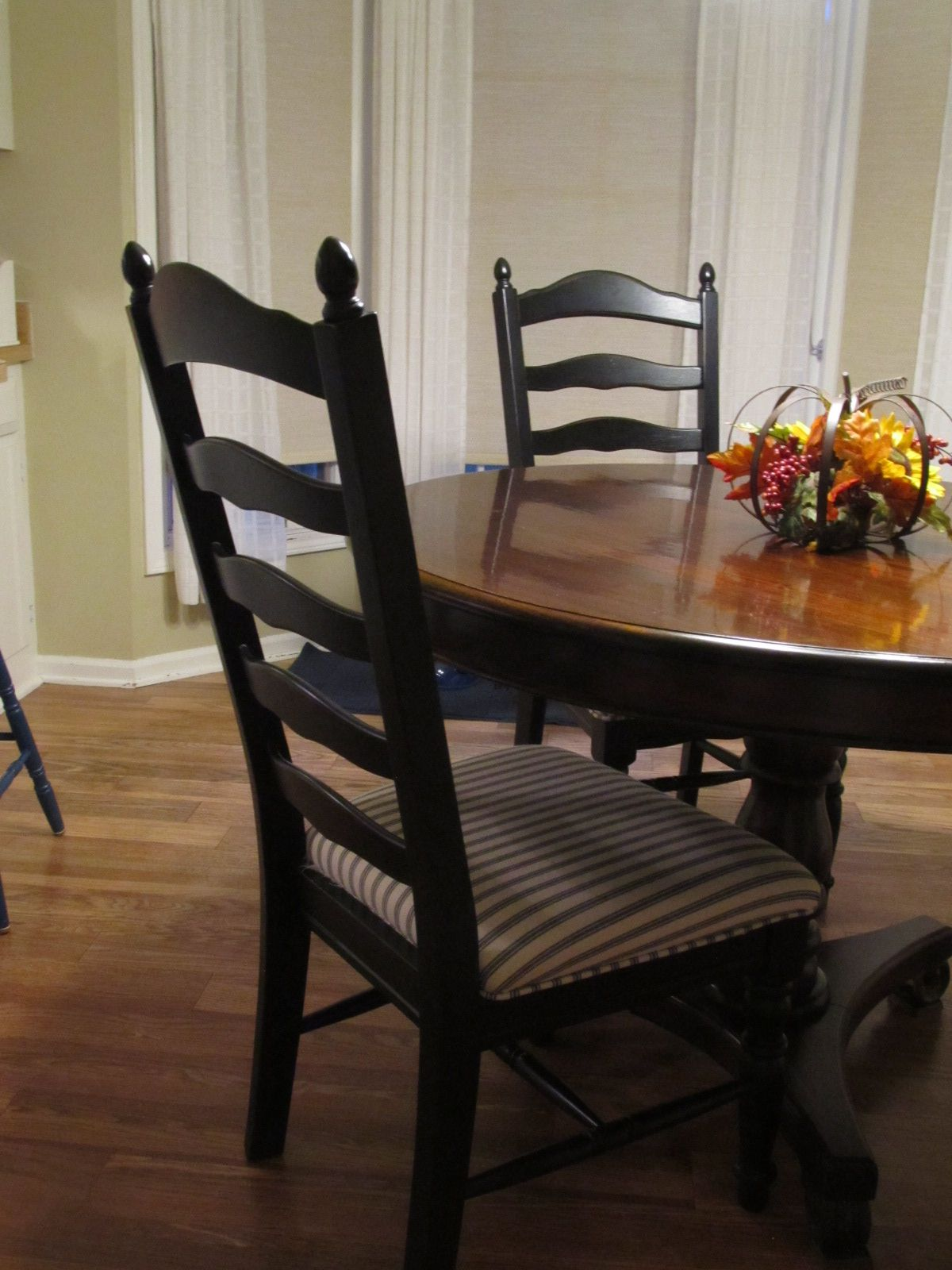 Black Ladder-back chairs with upholstered seats. | Ladder ...