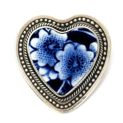 Broken China Jewelry Burleigh Blue Calico Double Flower B Sterling Heart Brooch Pin - Vintage Belle Broken China Jewelry