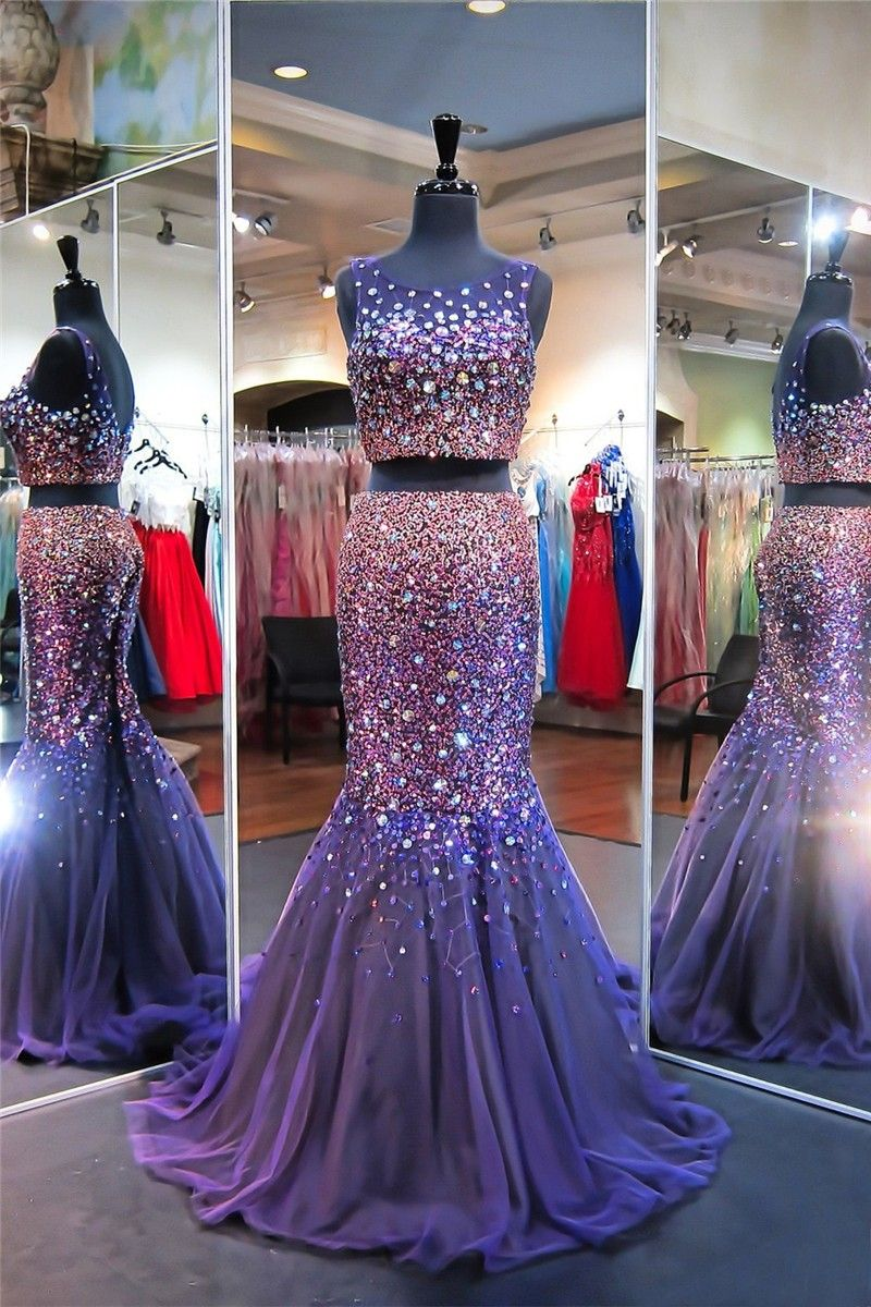 Sparkly Mermaid Scoop Neck Two Piece Purple Tulle Beaded Prom Dress Dresses Sparkly Prom Dresses Prom Dresses [ 1200 x 800 Pixel ]