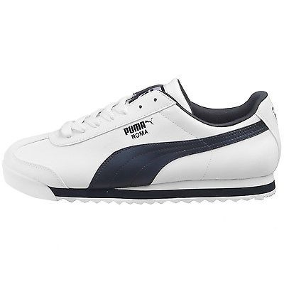 Puma Roma Basic Mens 353572-12 White Navy Athletic Shoes Casual Sneakers Sz  8.5 8a844bc25