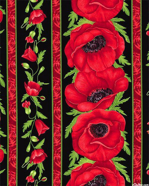 Flora - Garland Poppy Stripe - Black