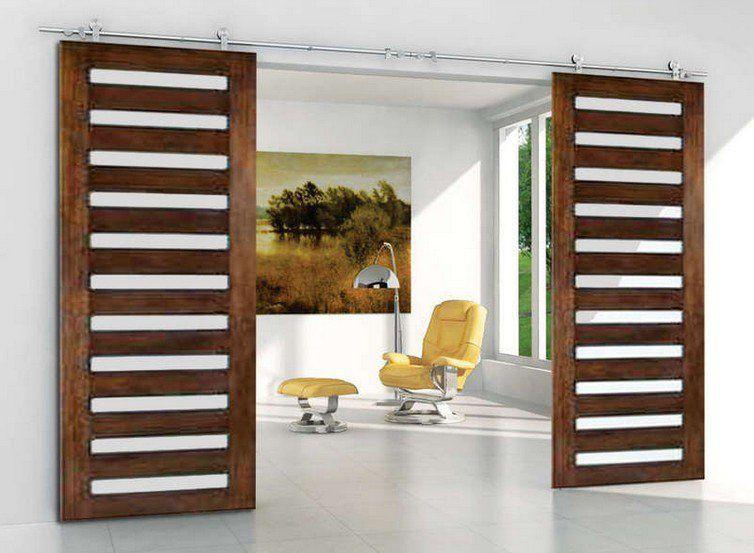 Modern Barn Door Hardware For Double Sliding Wood Door Sliding Wood Doors Modern Sliding Barn Door Doors Interior