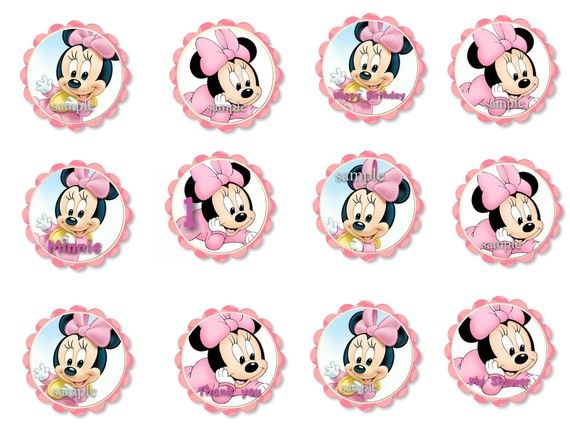 Tremendous Baby Minnie Mouse 1St Birthday Or Baby Shower Cupcake Toppers Funny Birthday Cards Online Necthendildamsfinfo