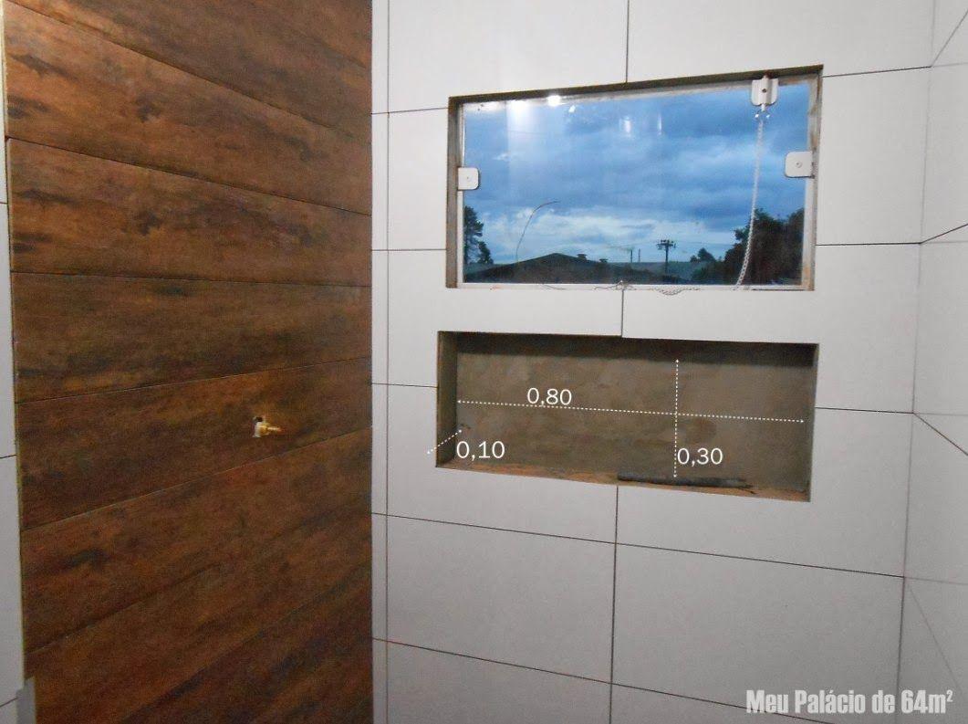Nicho do banheiro tem 0,30 de altura, 0,80 de largura e 0,10 de profundidade -> Nicho Banheiro Cerâmica