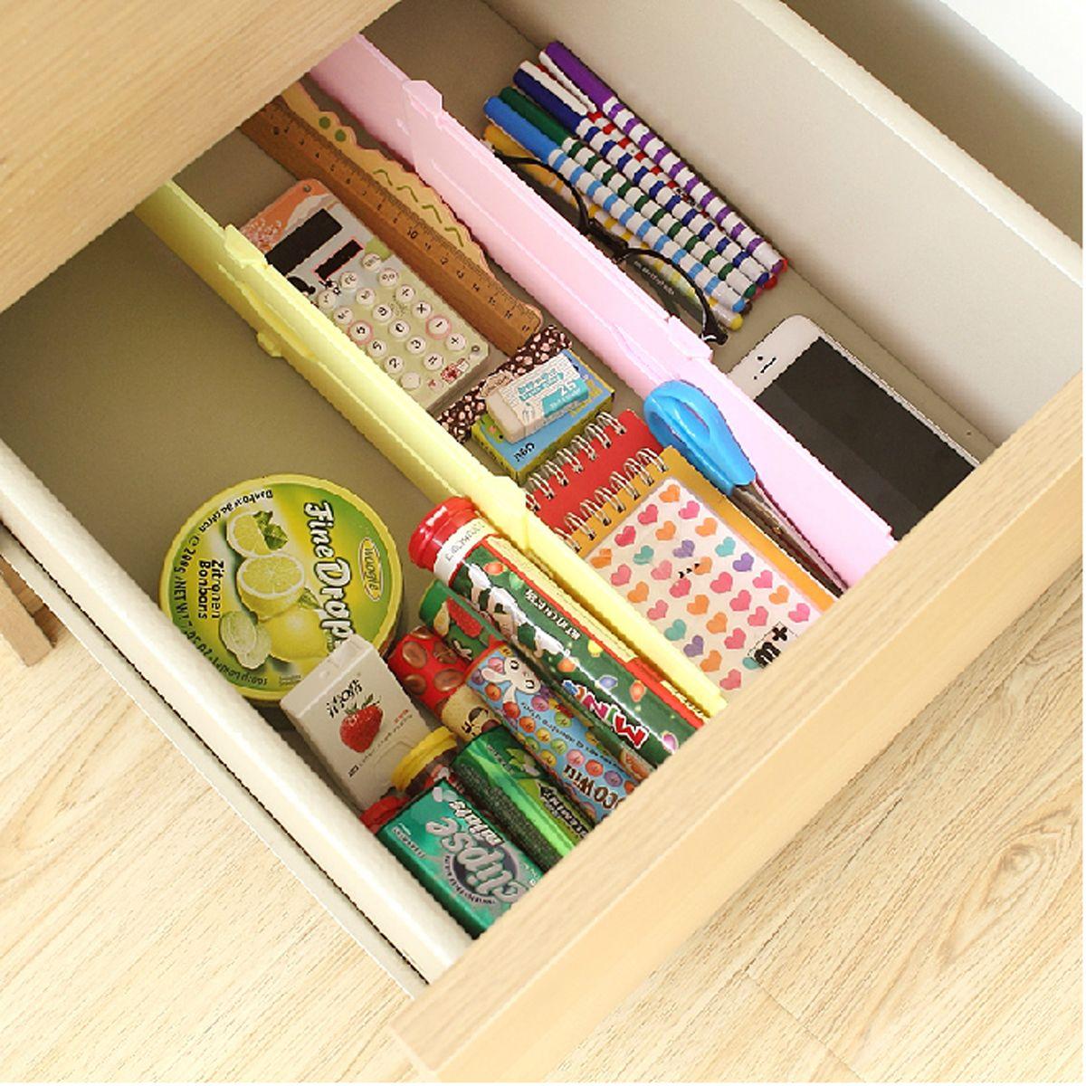 Adjustable wardrobe divider drawer storage organiser retractable