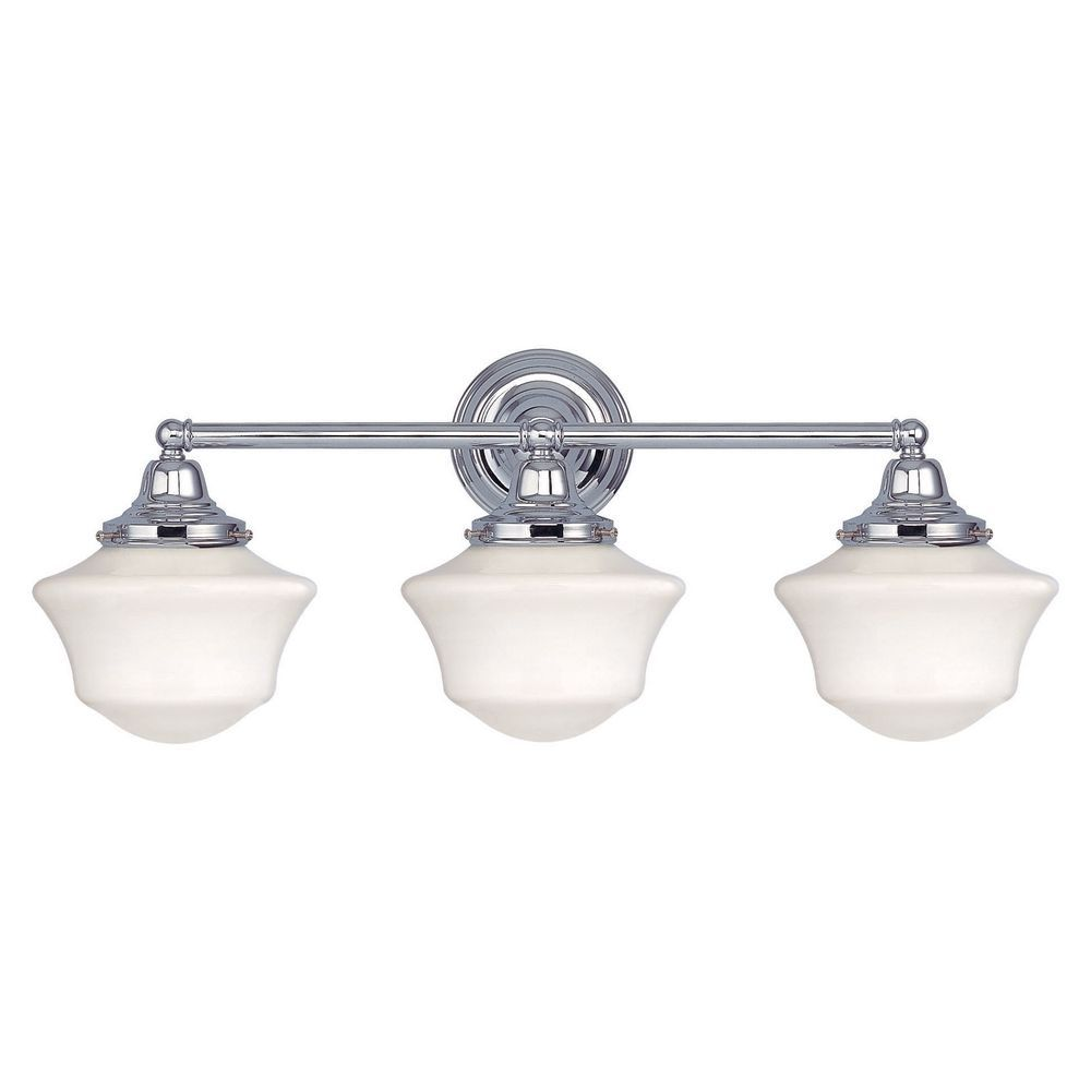 Schoolhouse bathroom light chrome white opal glass 3 light 23125 schoolhouse bathroom light with three lights in chrome finish wc3 26 arubaitofo Gallery