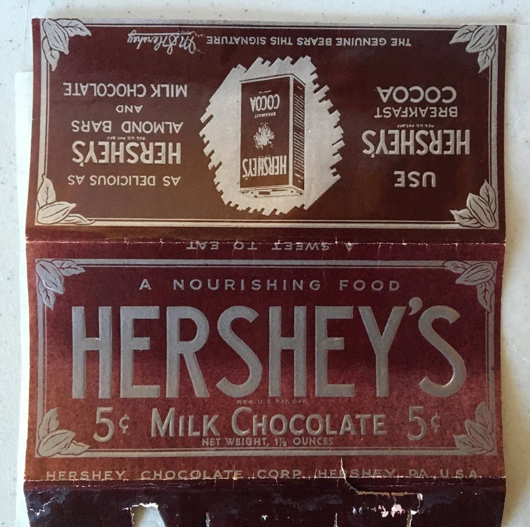 Vintage 1930s Hersheys Milk Chocolate /& Almonds Bar Wrapper Unused NOS