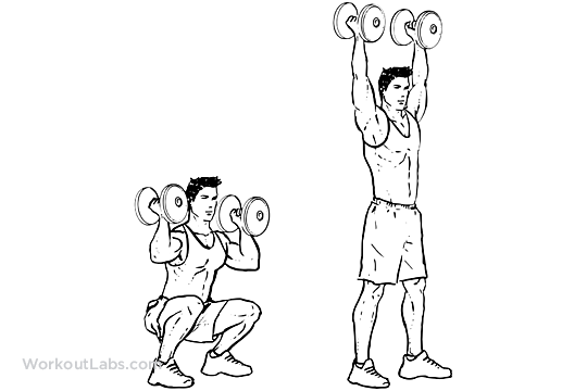 dumbbell squat thrusters    squat to overhead press