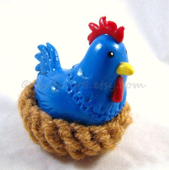 Little blue chicken sculpture cojiro the cucco legend of zelda inspired polymer clay