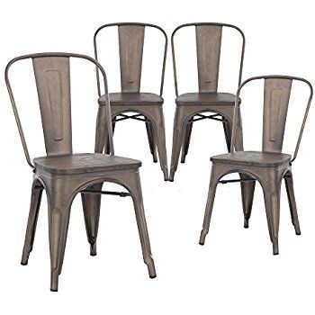 Farmhouse Industrial Chic Metal Wood Top Vintage Tabouret Antique Copper  Bronze Rustic Distressed Dining Bistro Cafe Stackable Side Chair, Set Of 4    Chairs ...