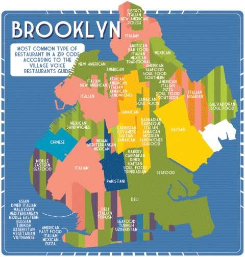 brooklyn new york zip code map Big Apple Restaurant Maps Brooklyn Food New York Travel Food Map brooklyn new york zip code map