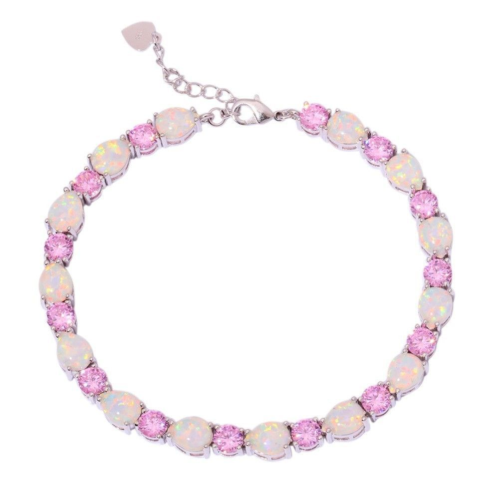 "White Fire Opal Pink Zircon Silver Bracelet Wholesale Retail Hot Sell For Women Jewelry Chain Bracelet 7 3/8""-8 3/4"" OS558"