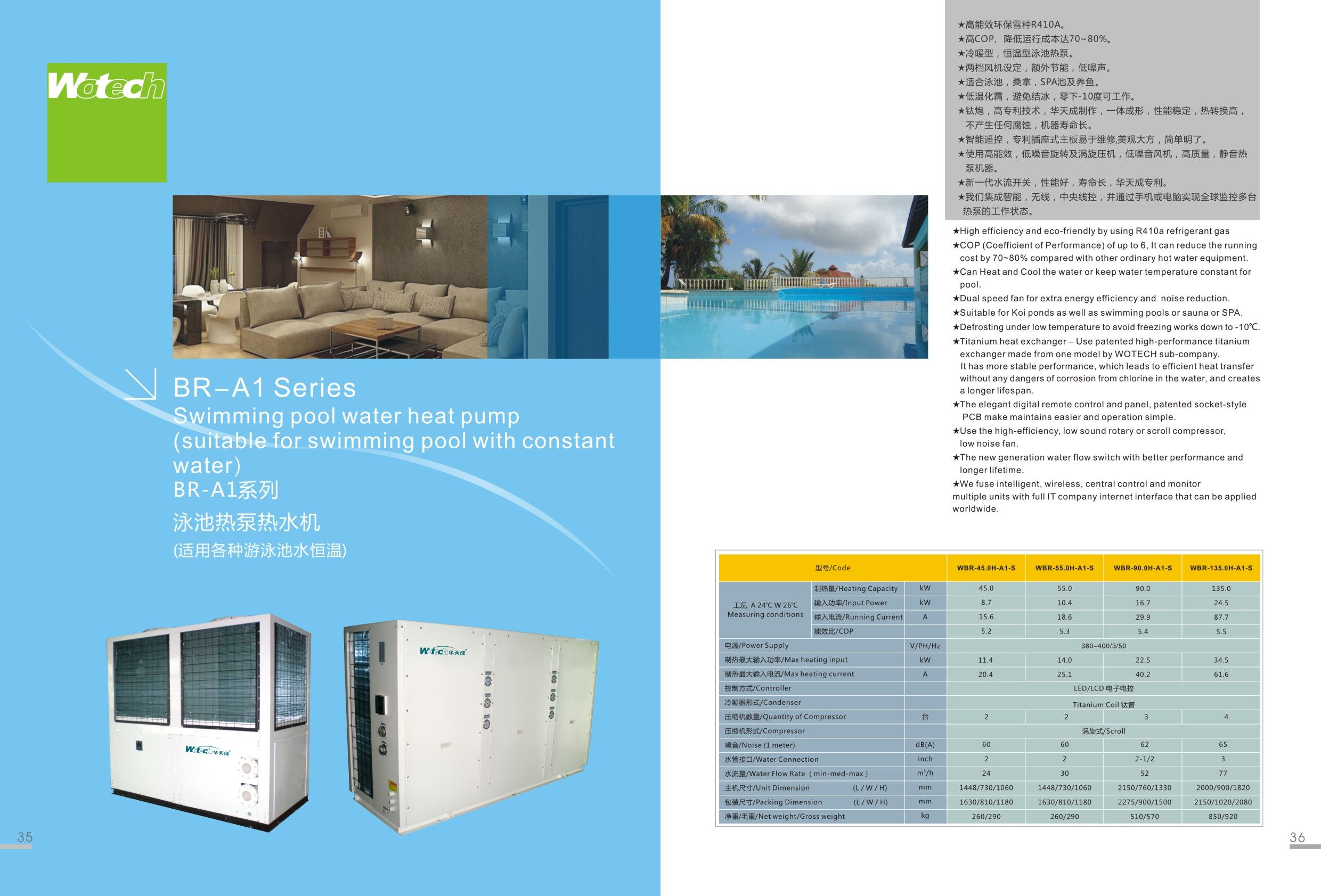 Wotech Swimming Pool Heat Pump Br A1 Series Suitable For Swimming Pool With Constant Water Heated Pool Water Heating Pool Water