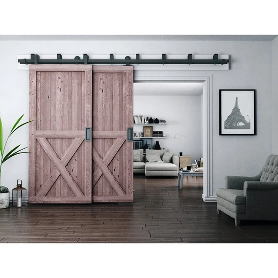 Top Mount Bypass Barn Door Hardware Kit 4 20 Track Rustic Rolling Doors In 2020 Bypass Barn Door Bypass Barn Door Hardware Interior Barn Doors