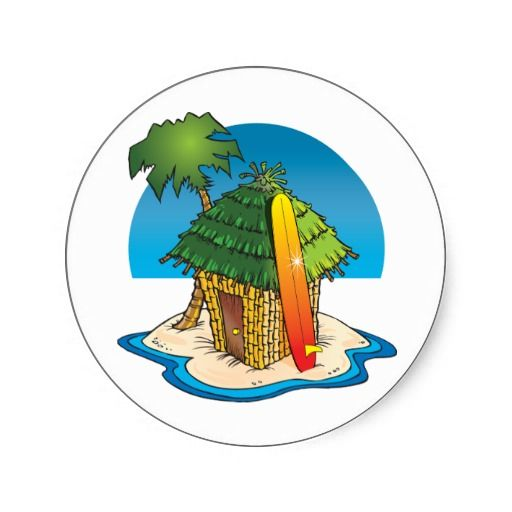 Inspiration Photo Tiki Hut: Cartoon Tiki Hut With Surfboard And Palm Classic Round