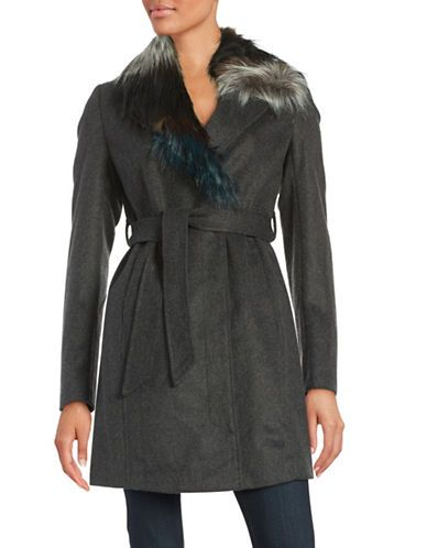 Sam Edelman Faux Fur-Trimmed Wool-Blend Coat Women's Charcoal Large