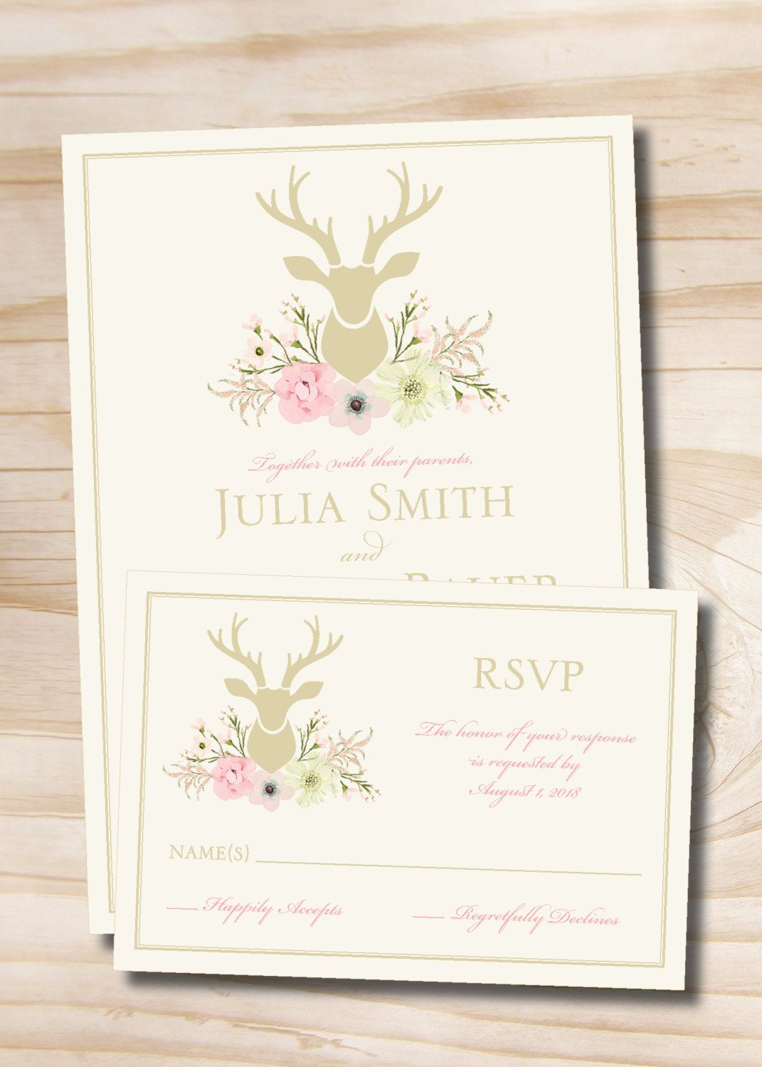 Rustic watercolor deer head buck floral antlers wedding invitation rustic watercolor deer head buck floral antlers wedding invitation response card invitation suite stopboris Choice Image