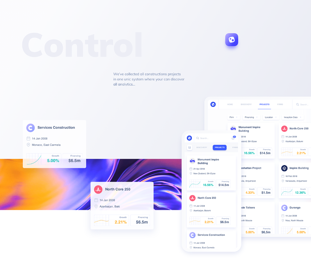 Control Construction Projects On Behance Projects Mobile App Design System