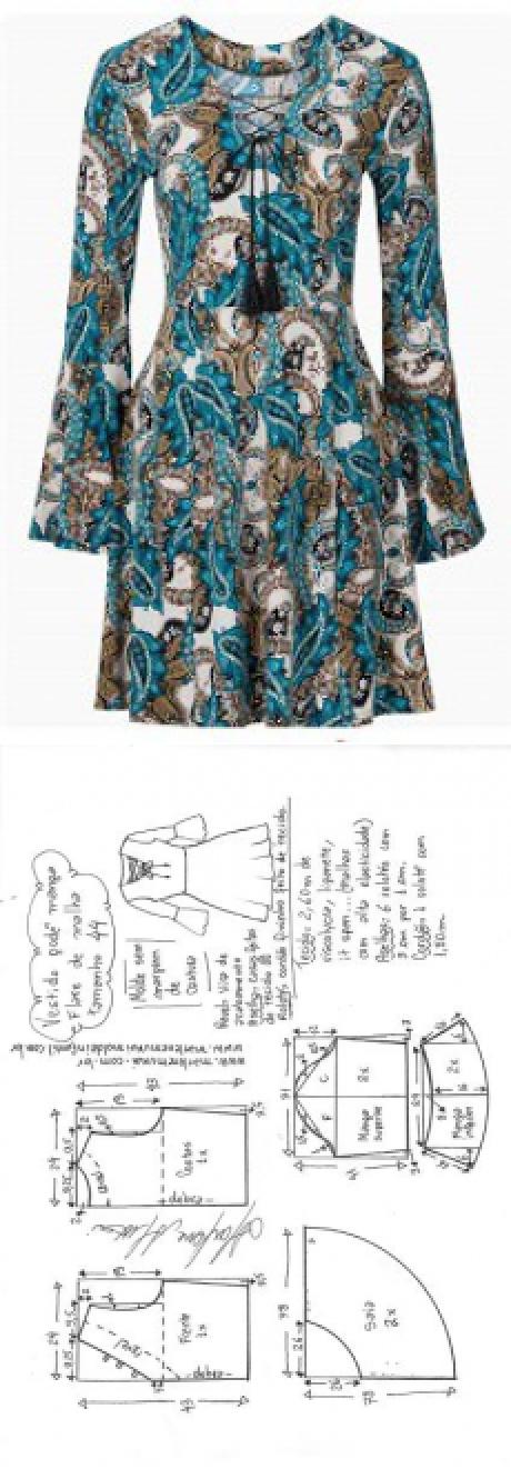 Vestido malha godê manga flare | DIY - molde, corte e costura ...