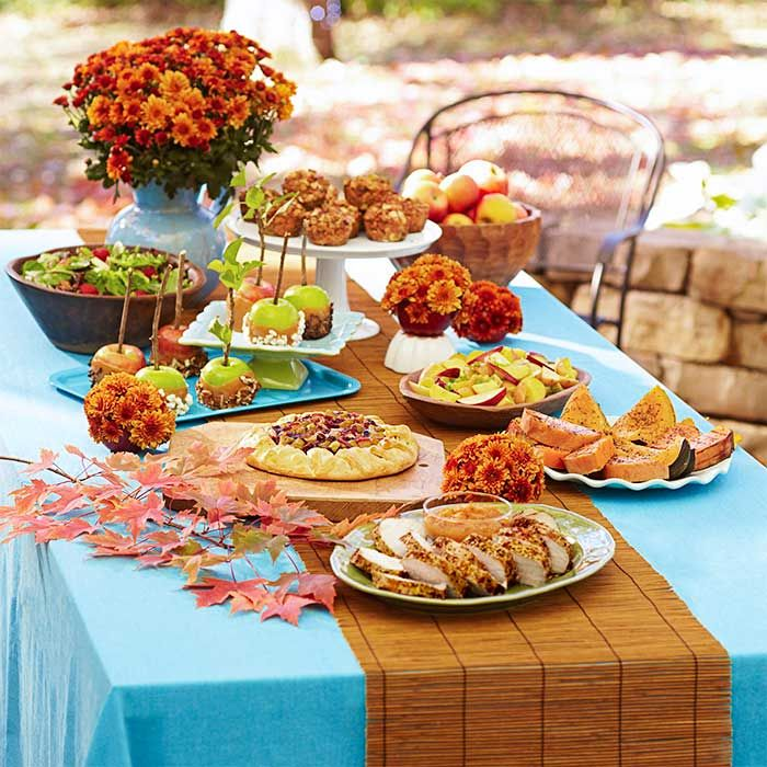 Fall Entertaining Ideas Part - 28: Table Filled With Harvest Party Food And Table Decorations